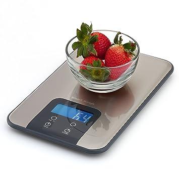 Smart Weigh SNT100 Báscula y Temporizador Digital de Cocina - Báscula para alimentos - Diseño Delgado en Acero Inoxidable - Alta precisión - LCD con luz de ...