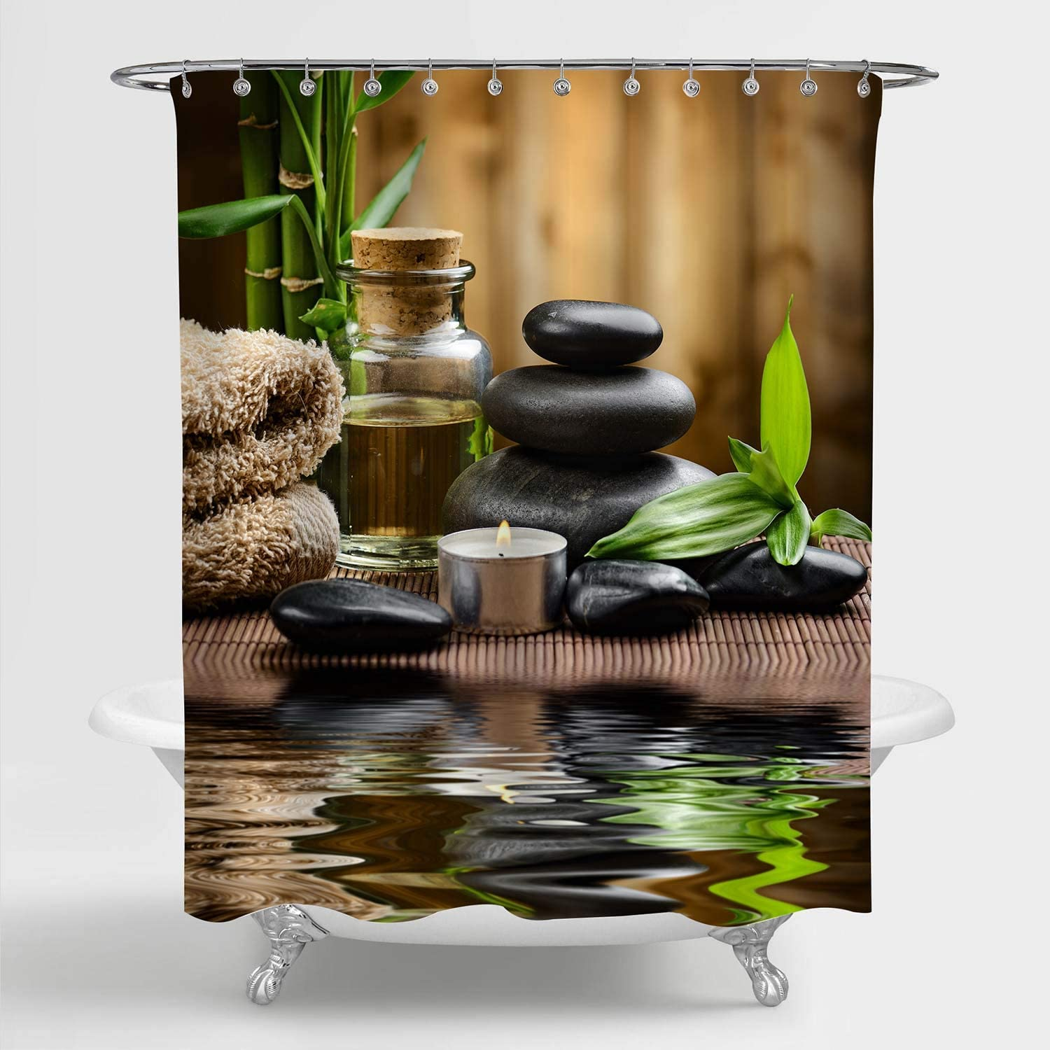 "MitoVilla Zen Spa Shower Curtain for Women, Zen Basalt Stones and Spa Oil on The Wood Near a Pond Printing Bathroom Accessories for Japanese Garden Theme Home Decor, Brown, 72"" W x 72"" L Standard"