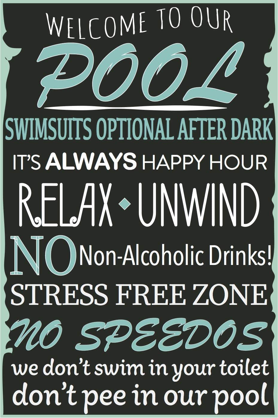 "Toothsome Studios Pool Rules 12""x8"" Outdoor Indoor Aluminum Pool Signage Pool House Decor"