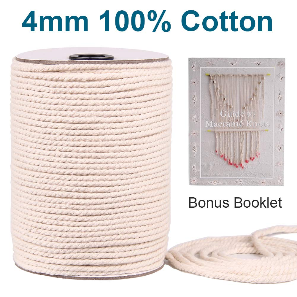 Macrame Cord 4mm x 150Yards | 100% Natual Cotton Macrame Rope | 3 Strand Twisted Cotton Cord for Wall Hanging, Plant Hangers, Crafts, Knitting, Decorative Projects | Soft Undyed Cotton Rope