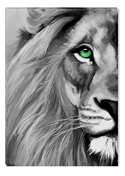 Startonight Canvas Wall Art Black And White Abstract Lion Blue Eye Animals Jungle Framed Wall Decor 24 X 36