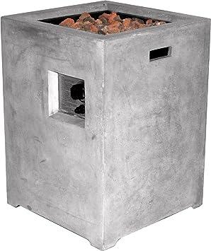 Clifton Gasofen Compact Square Grey Garten Gaskamin Heizpilz Feuerstelle Terassenkamin Kamin