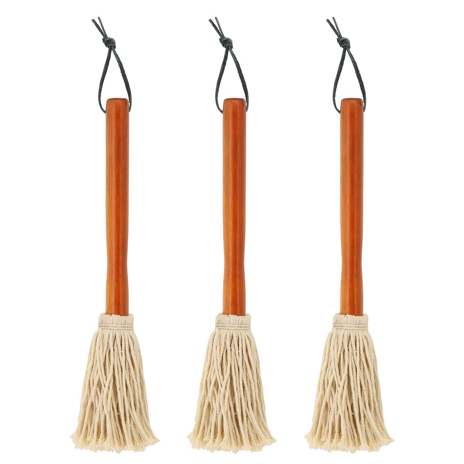 12'' BBQ Basting Mops for Roasting or Grilling, Apply Barbeque Sauce, Marinade or Glazing, Cotton Fiber Head and Natural Hardwood Handle, Dish Mop Style, Perfect for Cooking or Cleaning - Pack of 3