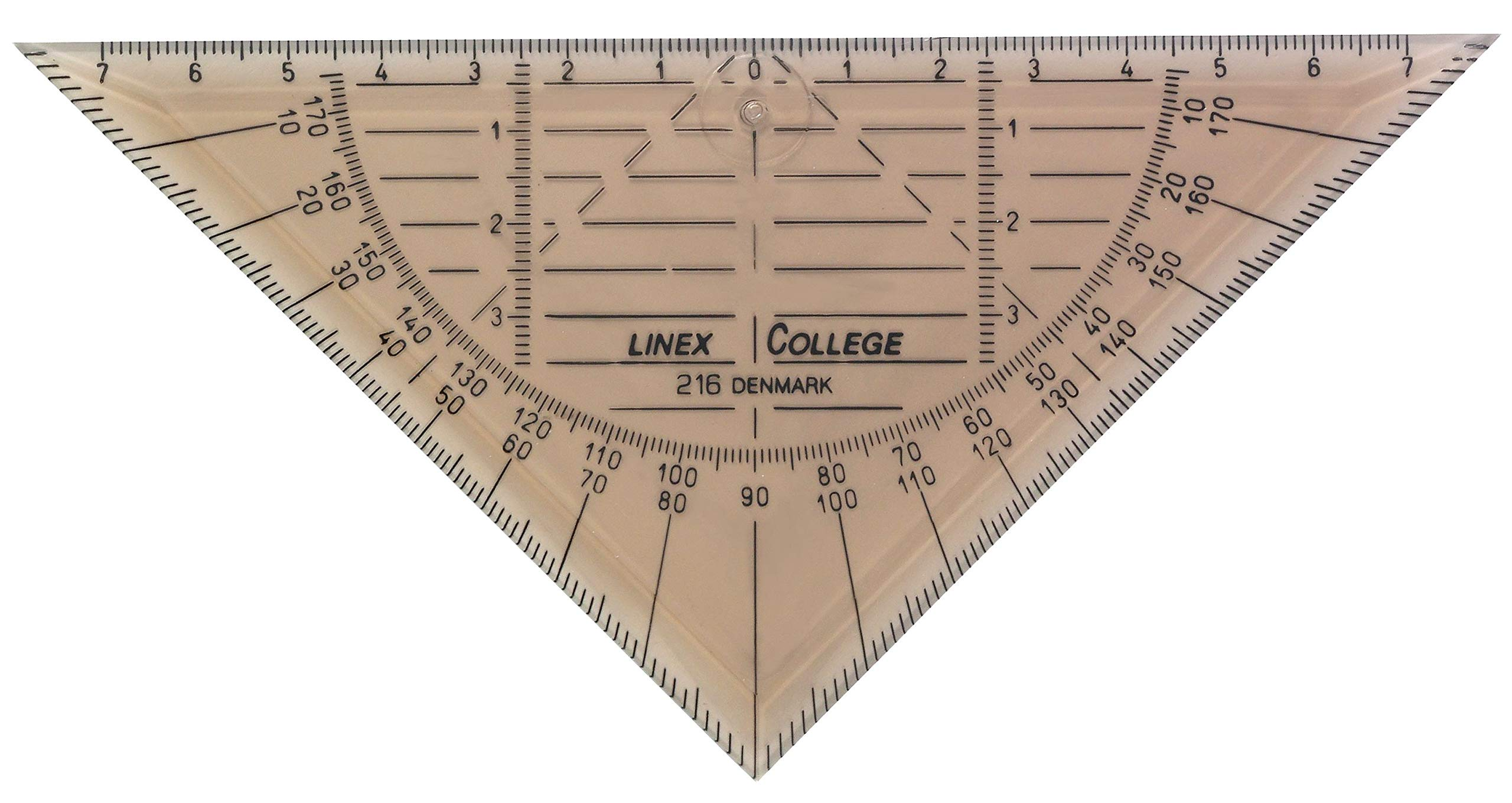 Linex College 100414081 Set of 10 Geometry Triangles 16 cm and 180° with Bevelled Transparent Dyed Plastic