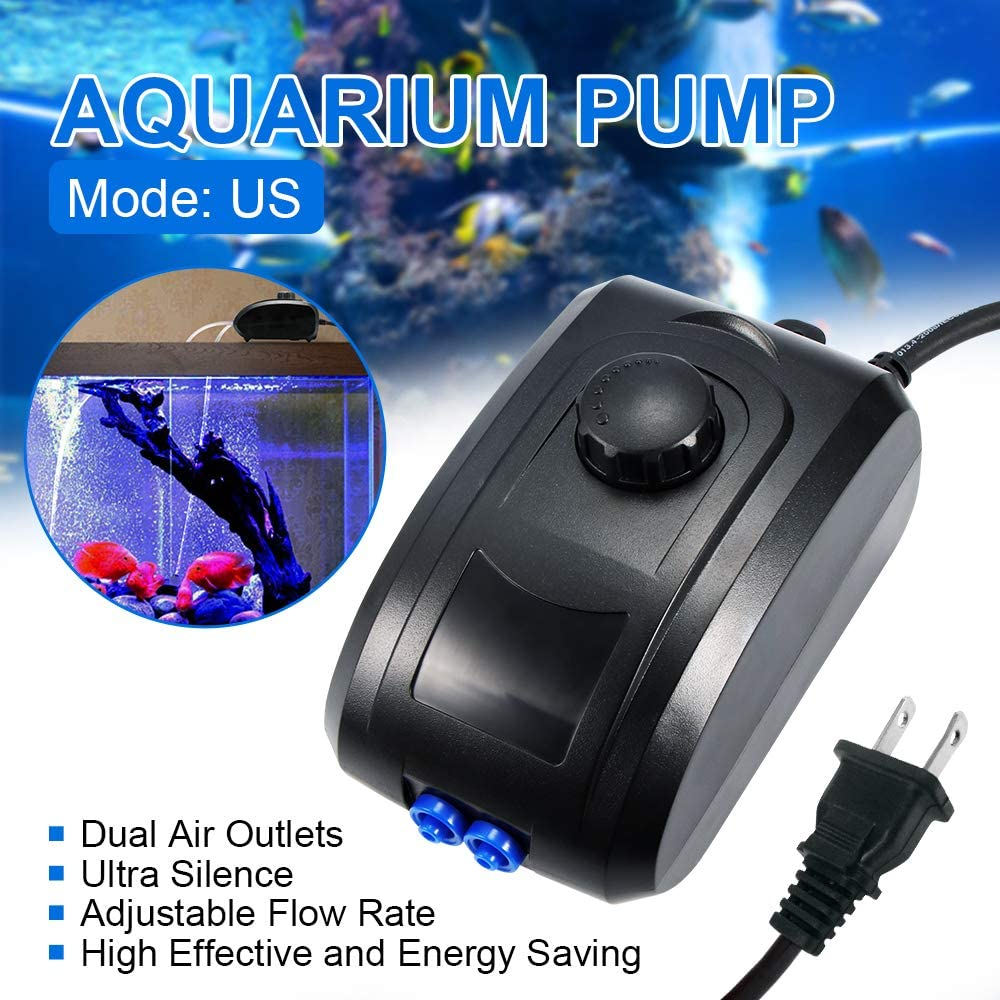 Pond Hydroponics Fountain Fish Tank Konesky Oxygen Pump 4W Ultra Silent w// 2 Air Outlets High Energy Saving Adjustable Flow Rate for Aquarium Upgraded Aquarium Air Pump