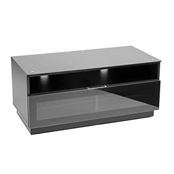 Mmt Black Tv Stand Cabinet In High Gloss With Ir Amazon Co Uk