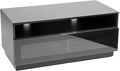 MMT D1000 - Mueble Tv negro brillante con cristal IR amigable puerta trajes 32