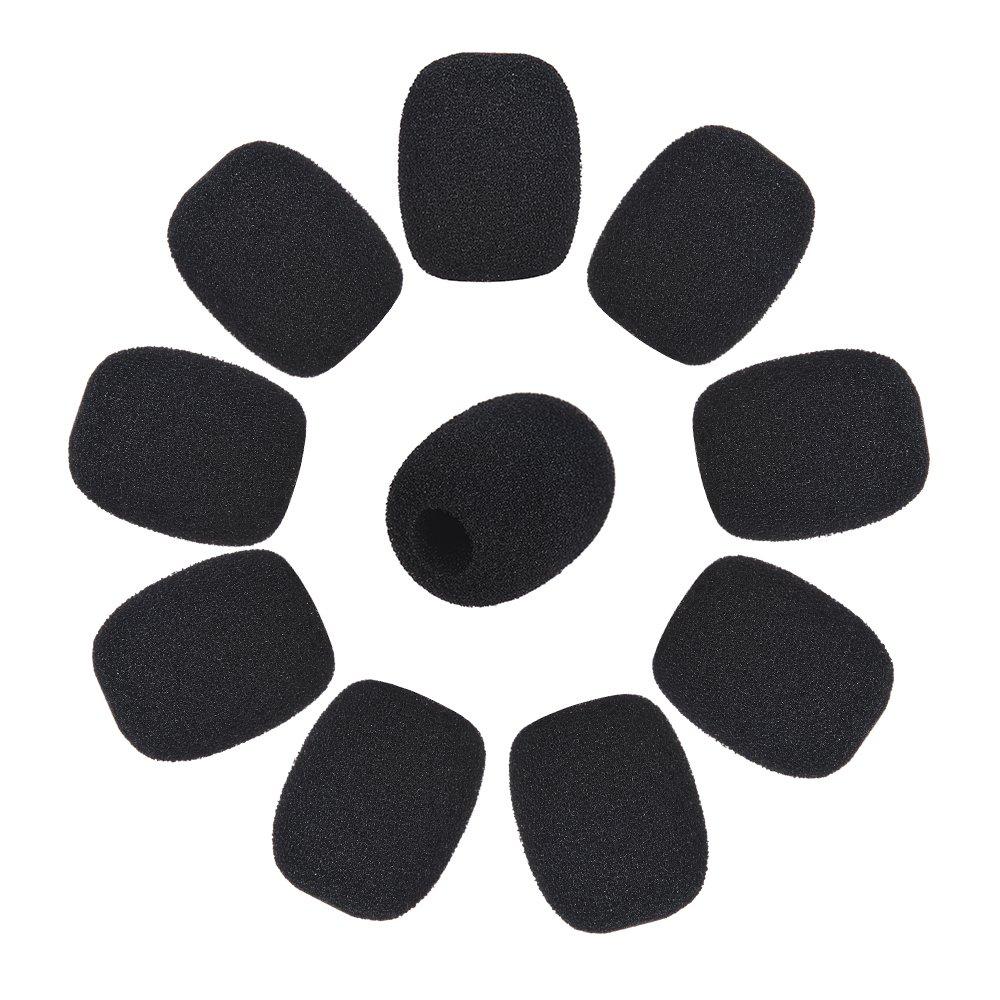 Negro 10-Pack Andoer Mini Solapel Headset Micr/ófono Windscreen Mic Foam Cover