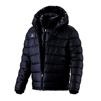 f7463a351db1 Fuerza Mens Winter Down Wellon Special Collection Hooded Double Layer Parka  Jacket - Black - Large