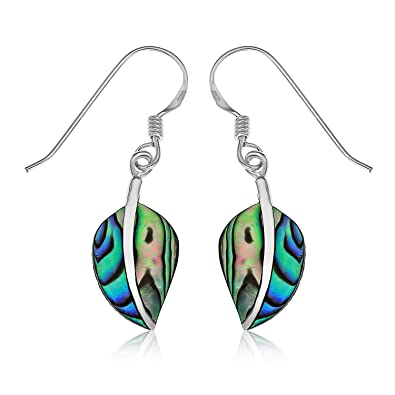 Ornami Sterling Silver and Abalone Leaf Drop Hook Wire Fitting Earrings WOLWz1S