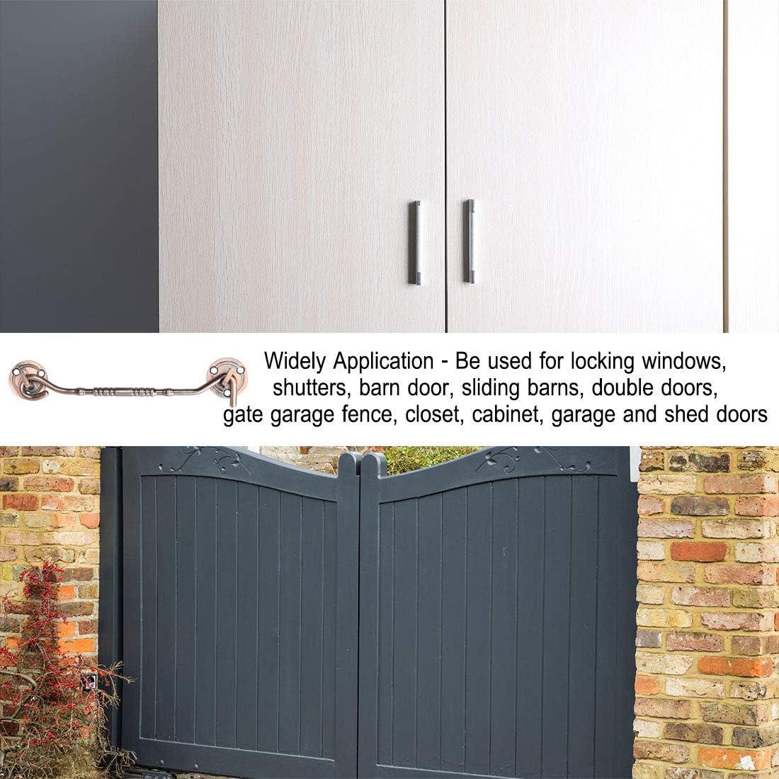 Uxcell Gancho de cabina, pestillo de ojo puerta de gancho de privacidad con acabado de bloqueo de tornillo para persianas puerta de granero puerta de cobertizo: Amazon.es: Bricolaje y herramientas