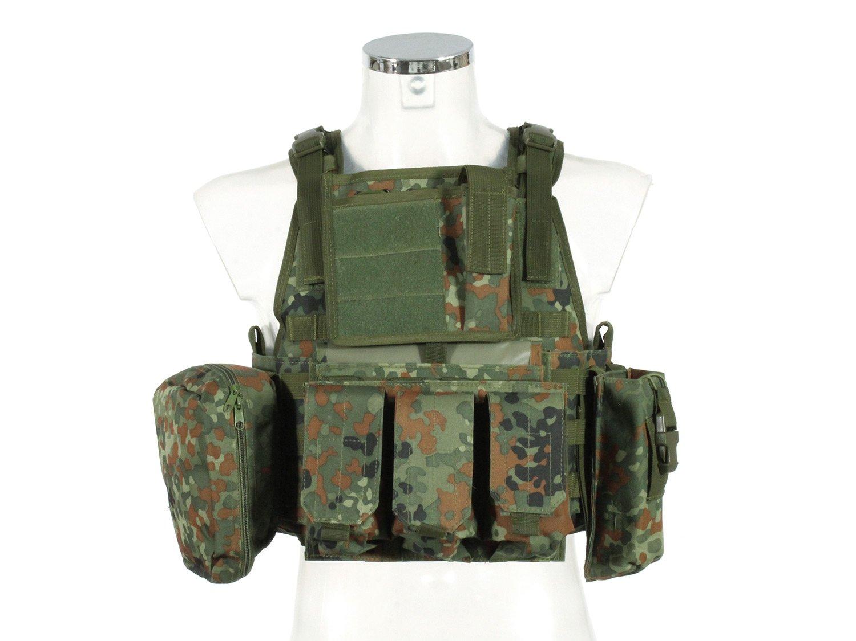 PHX Plate Carrier / Plattenträger / Weste Commando, MOLLE kompatibel, mit 4 Taschen - flecktarn