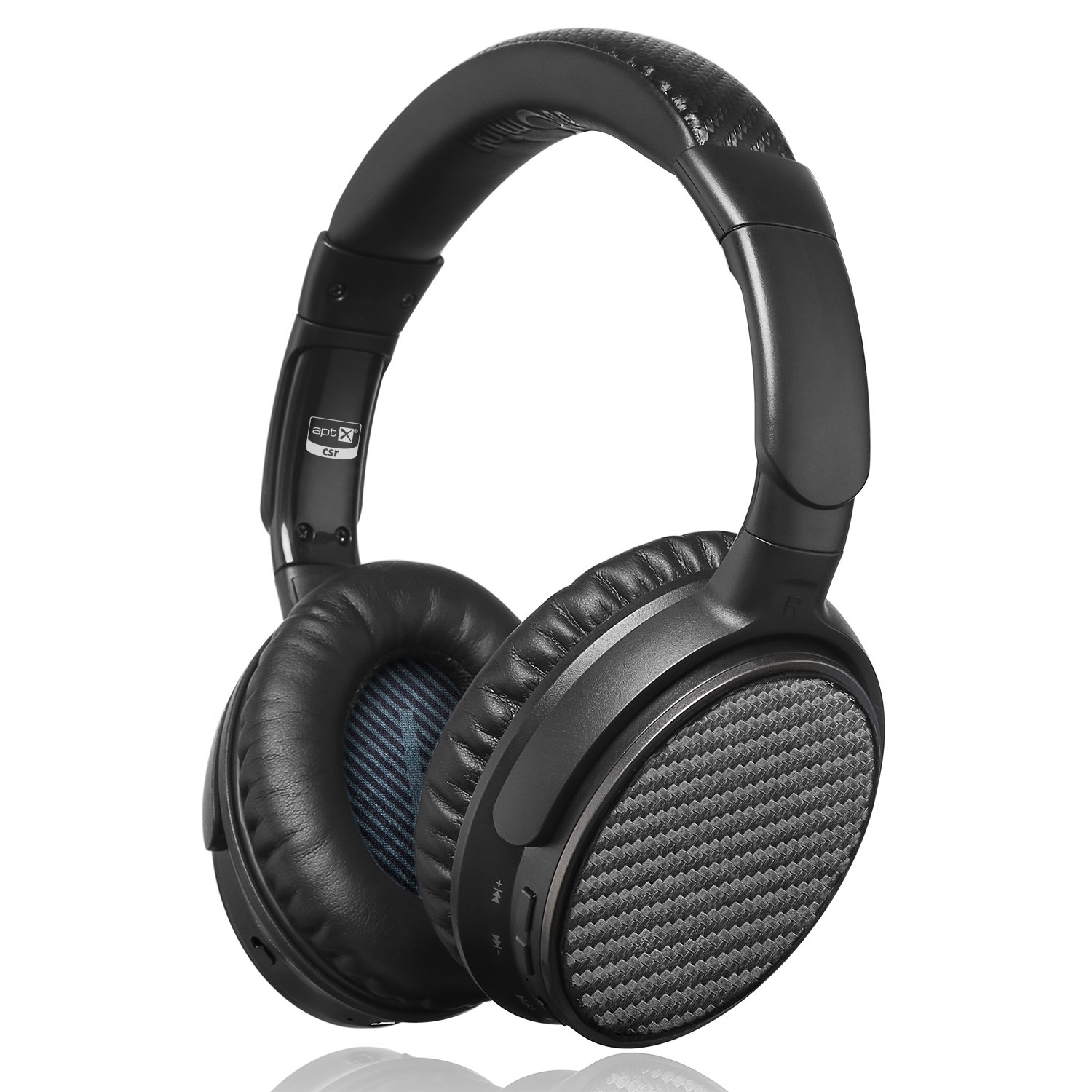 Active Noise Cancelling Bluetooth Headphones, iDeaUSA Wireless Over Ear Headphones with Microphone apt-X HiFi Stereo Sound Headphones for TV, Airplane, 25 Hours Playback - Black