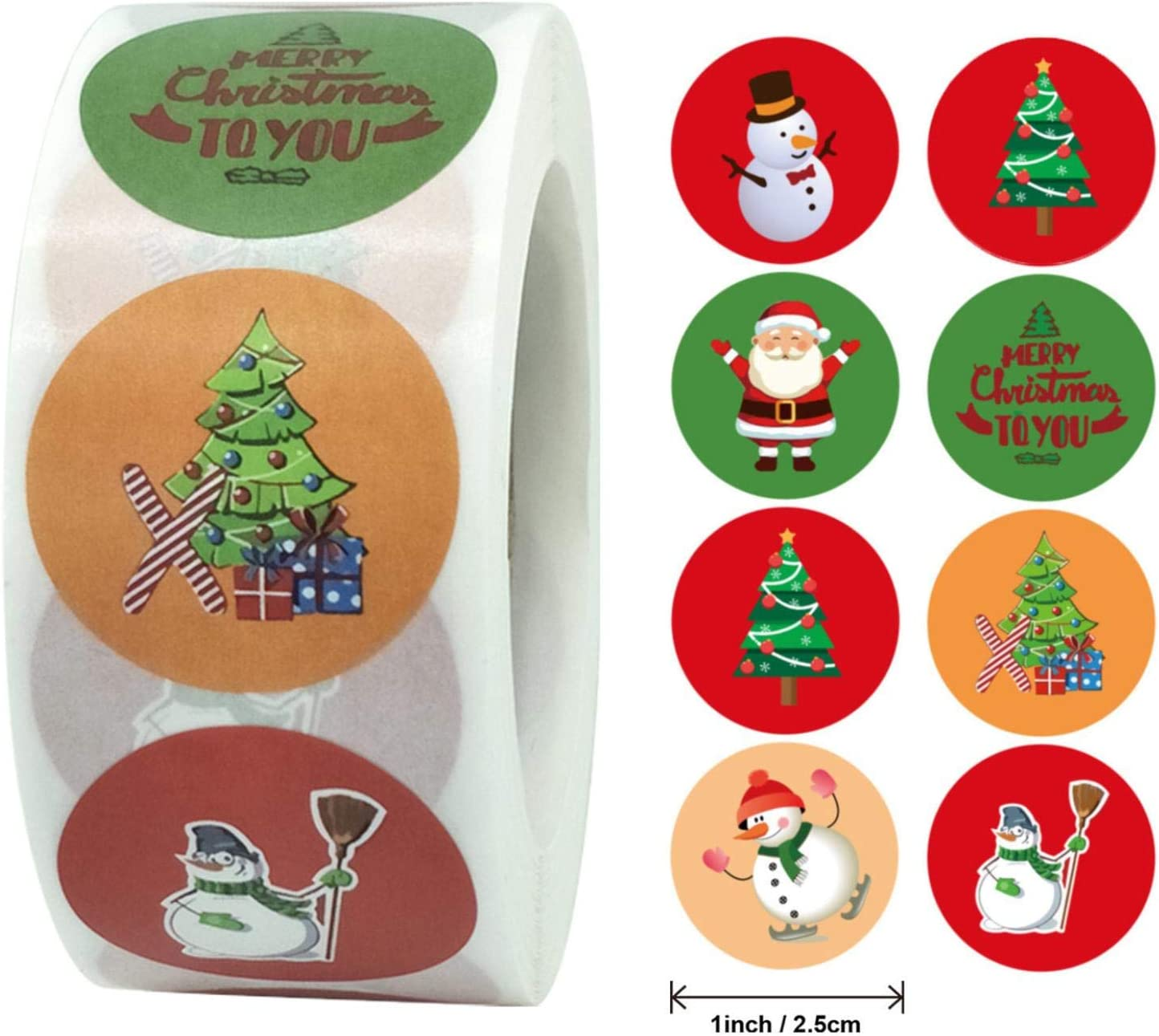 Qvwanle Christmas Pack Sticker,New 1 Roll 500 Posts Round DIY Tags Gift Decorating Pack Sticker for Holiday Greeting, Sealing, Gifting, Office, Gift Decorations (Q)