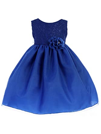 29136b7bb Amazon.com  Crayon Kids Baby Girls Royal Blue Lace Flower Bow Flower ...
