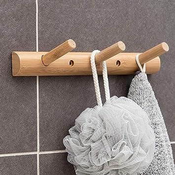 HUAVIN Perchero de Pared pegajoso y Perforado Perchero de Madera Toallas de Estante Hat para baño Entrada Dormitorio Casa: Amazon.es: Hogar
