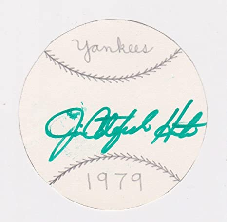 cc86f1a6cbb Image Unavailable. Image not available for. Color  Jim Catfish Hunter Signed  3 quot  Baseball Disc Auto Autograph ...