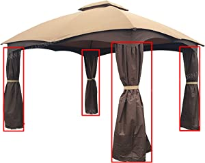 APEX GARDEN 4 Poles Brown Corner Curtain Set for Lowe's 10' x 12' Gazebo Model #GF-12S004BTO / GF-12S004B-1 (Corner Curtains Only) (Dark Brown)
