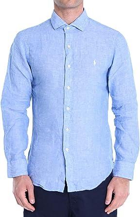 Polo Ralph Lauren Mod. 710795426 Camisa Lino Slim Fit Hombre Azul Claro M: Amazon.es: Ropa y accesorios