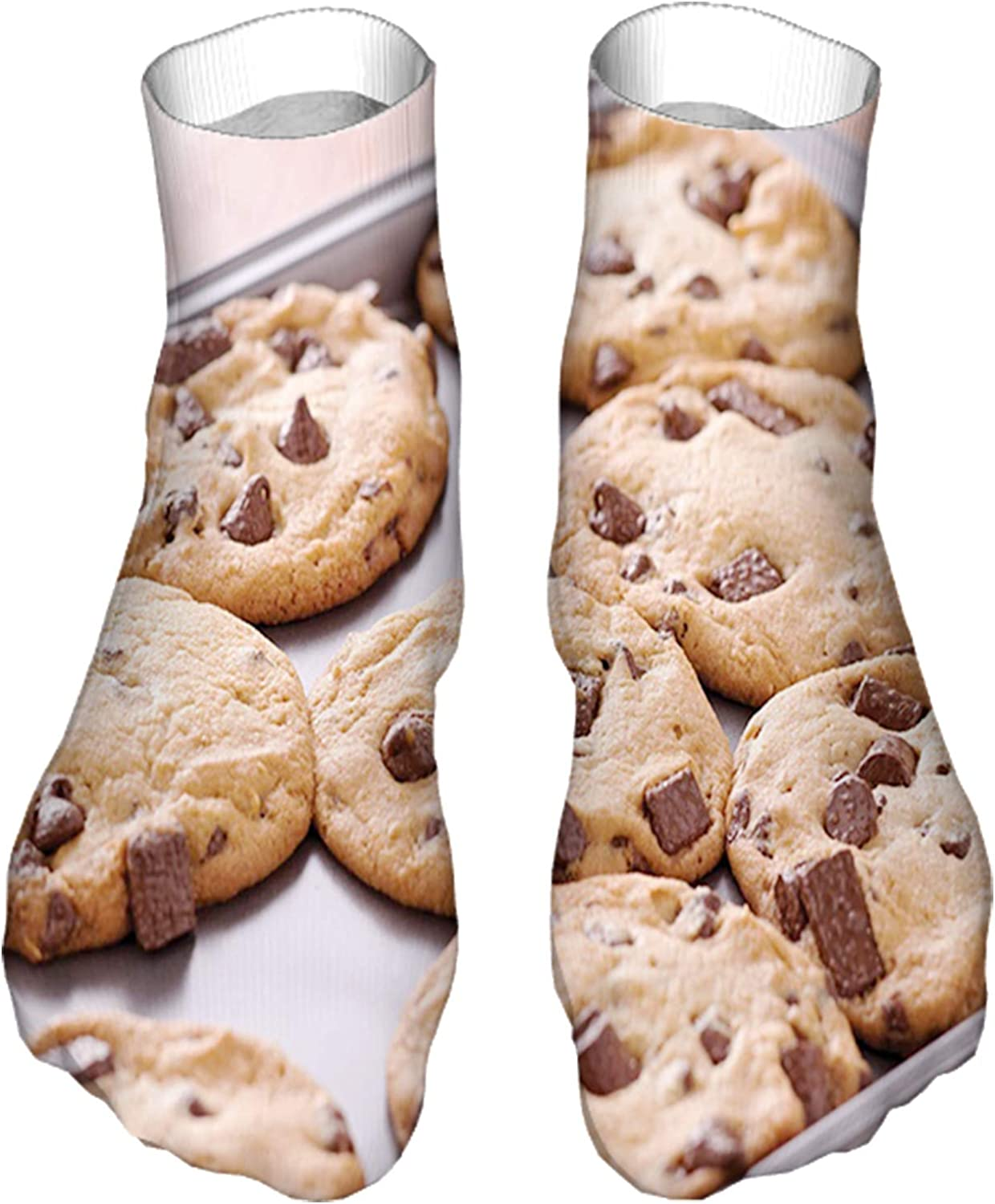 Funny Socks for Men & Women ,Fun Socks ,Crazy Colorful Cool Novelty Cute Dress Socks,Chocolate Chip Snacks on a Tray Baking Themed Food
