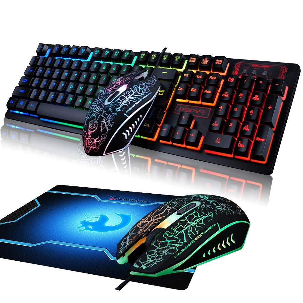 FELiCON Gaming Keyboard and Mouse Mousepad Combo, Rainbow Backlit Mechanical Feeling USB Wired Keyboard with 7 Color Breathing LED Backlight Mouse for PC, Laptop, Computer, Mac