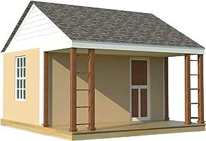 1 Room Cabin Building Plans Guest House DIY Garden Micro Cottage Tourist