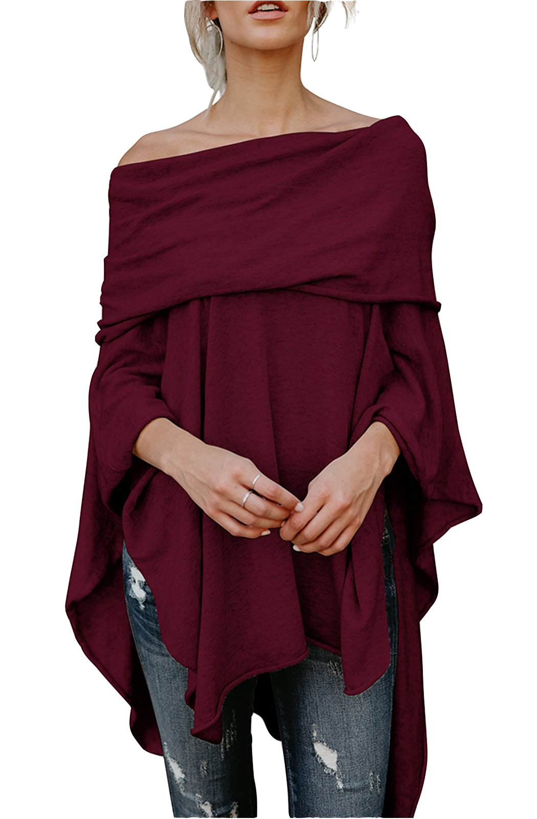FOXRED Womens Off Shoulder Irregular Hem Soft Knitted Poncho Sweater Pullovers (Large, Wine Red)