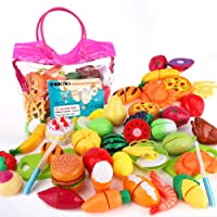 SONiKi 32Pcs Cutting Food Toys, Pretend Food Set with Storage Bag, Kitchen Toy Set Fun Cutting Pizza Fruits Vegetable Omelette Family Playset Cutting toys For Girls Boys Early Age Educational Skills Development