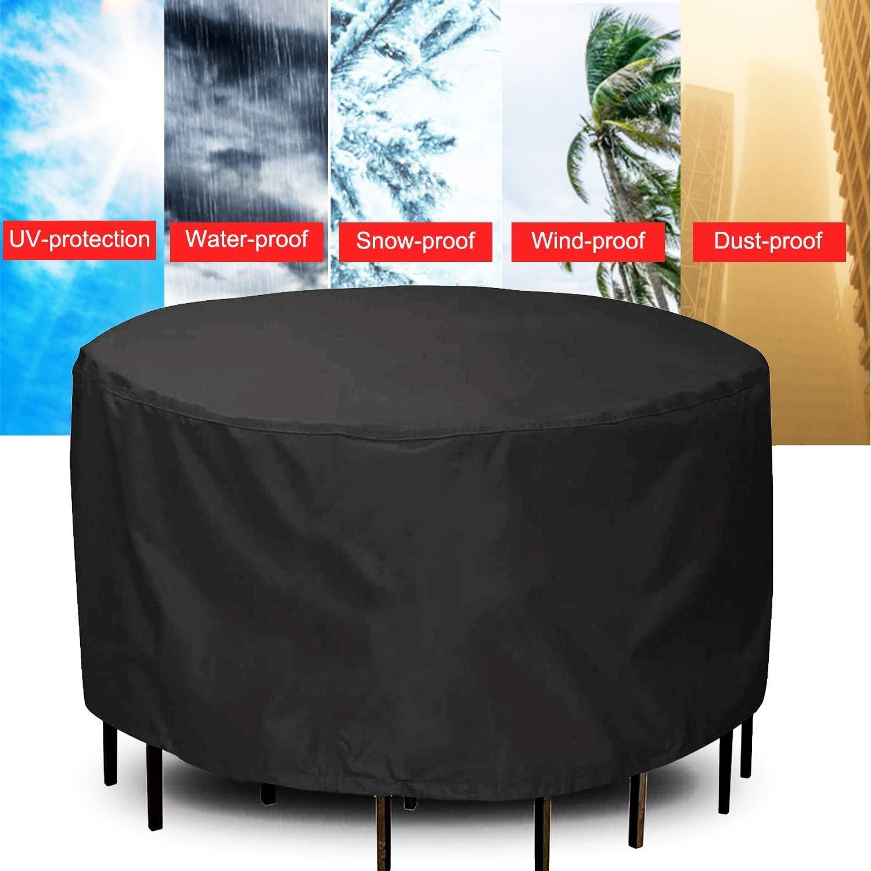 Set di Copertura 420D Chusstang Resistente allAcqua Copertura Rotonda per Tavolo da Giardino Resistente agli Agenti atmosferici e Anti-UV Copertura Rotonda per mobili da Giardino Antivento