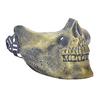 Skull Half Mask, Skeleton Skull Half Face Mask for Halloween, Costume Party, Masquerade, Paintball, BB Gun(Gold): Clothing