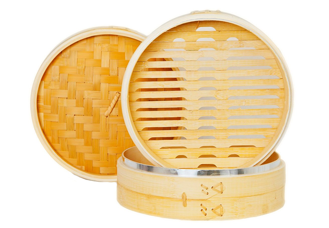 New Updated with Steel Rings! SKÖN Premium Bamboo Steamer + 2 pairs of Reusable Chopsticks + 50 pcs Perforated Liners, Silicone Coated by SKÖN (Image #5)