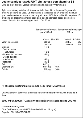 Pascual Leche sin Lactosa Semidesnatada, Pack de 6 x 1000ml ...