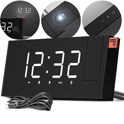 Amazon.com: SHARPER IMAGE - Reloj despertador de proyección ...