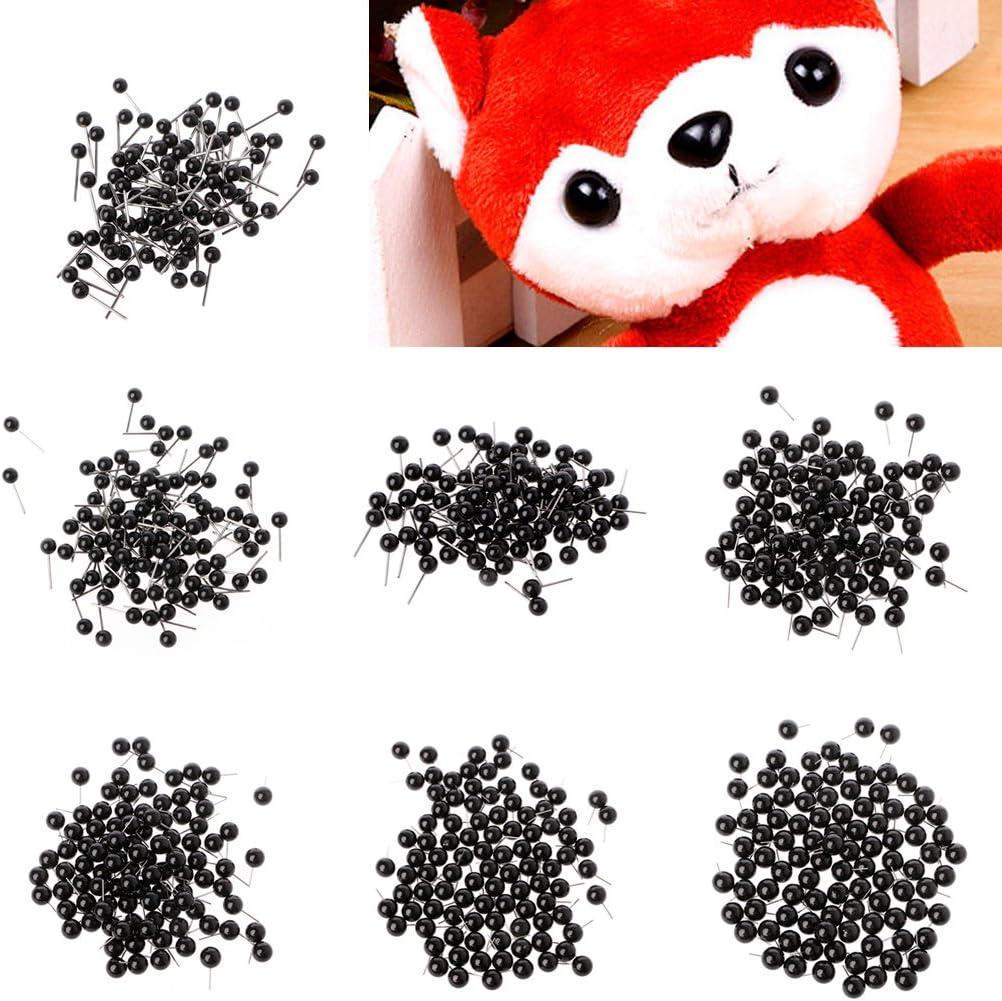 Hukai 100Pcs Glass Eyes 4 to 14mm Needle Felting Kit Black Beans Puppet Doll Craft
