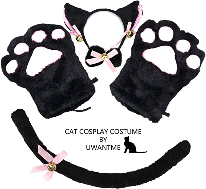 Details about  /5 Colors Plush Cat Kitten Paw Claw Gloves Anime Cosplay Halloween Party Costume