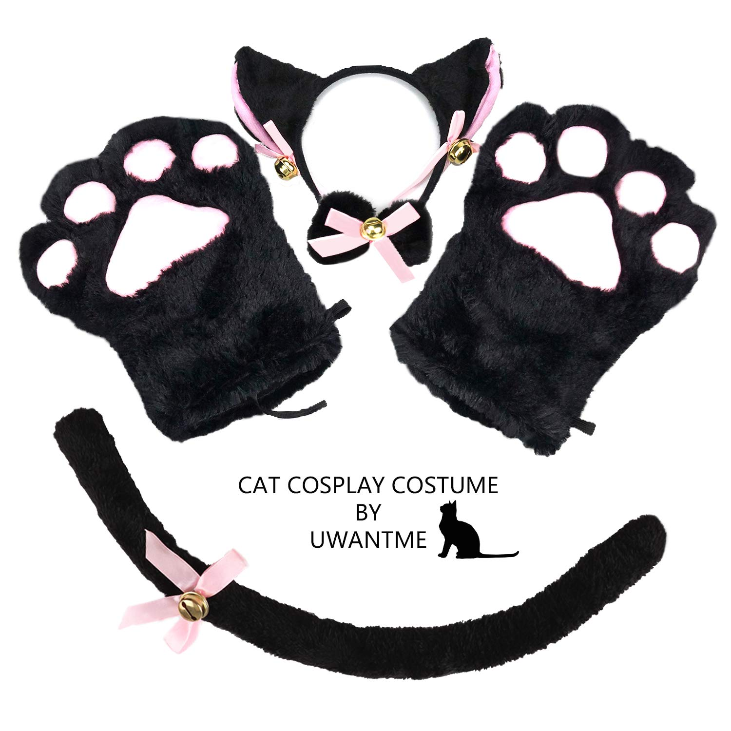 Cat Cosplay Costume Kitten Tail Ears Collar Paws Gloves Anime Lolita Gothic Set Black by UWANTME