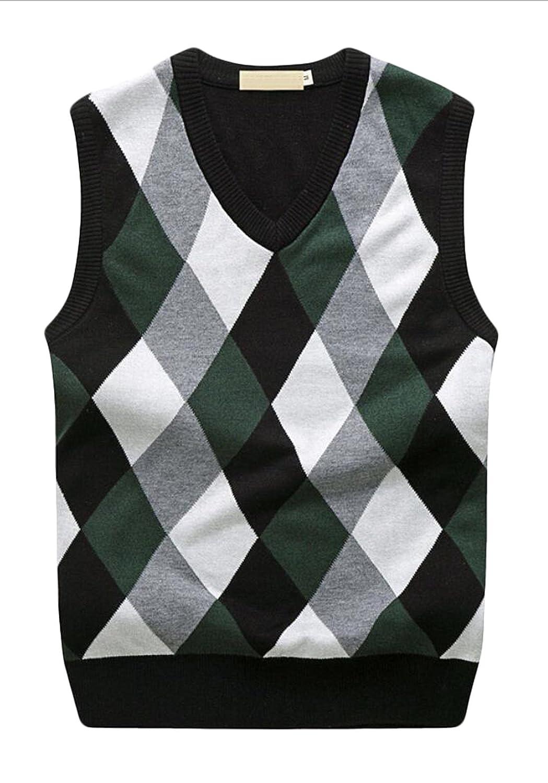 Acquaa Men's Argyle Pullover Knit Sleeveless Sweater Vest at ...