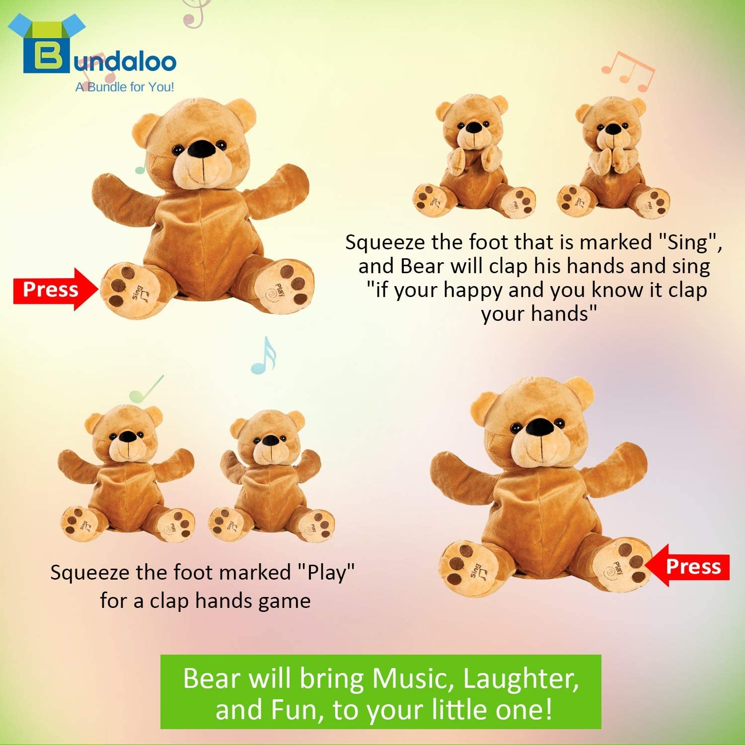 Animated Plush Gifts for Little Girls and Boys 11 x 6-Inch Talking Stuffed Animal for Kids Musical Toys for Babies and Toddlers Bundaloo Clapping and Singing Bear Play Games and Sing Songs