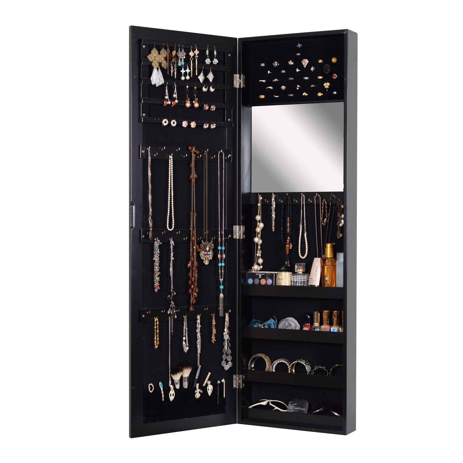Organizedlife Black Wall Mounted Black Jewelry Armoire Cabinet with Mirror Bedroom Furniture