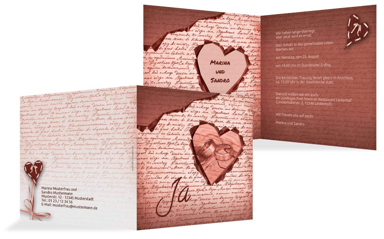 Hochzeit Einladung 2 Herzensgedicht, 10 Karten, TürkisGrauMatt B07HMYY493 | Haltbarer Service  | Ausgewählte Materialien  | Guter Markt