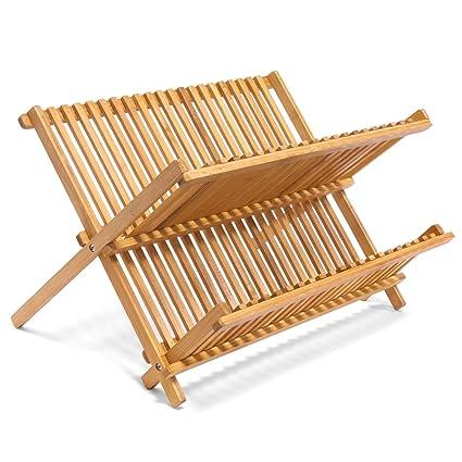 Jonas Escurreplatos Plegable Cocina – Escurridor Platos y Vasos de Madera  de Bambú con 2 Niveles 9e009860a7be