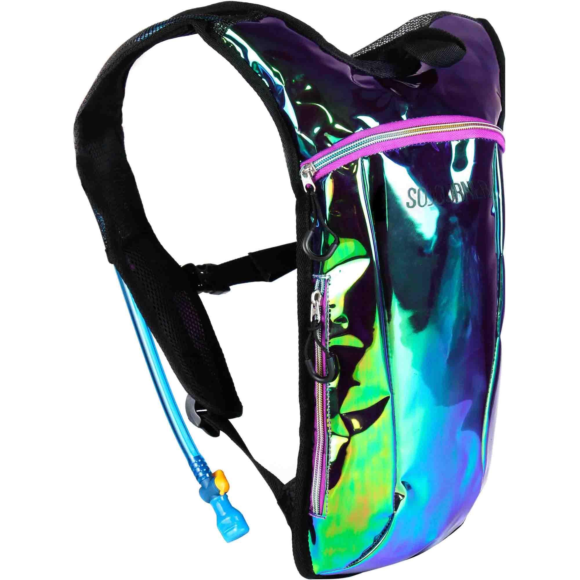 Sojourner Rave Hydration Pack Backpack - 2L Water Bladder Included for Festivals, Raves, Hiking, Biking, Climbing, Running (Laser Green Purple) by SoJourner Bags