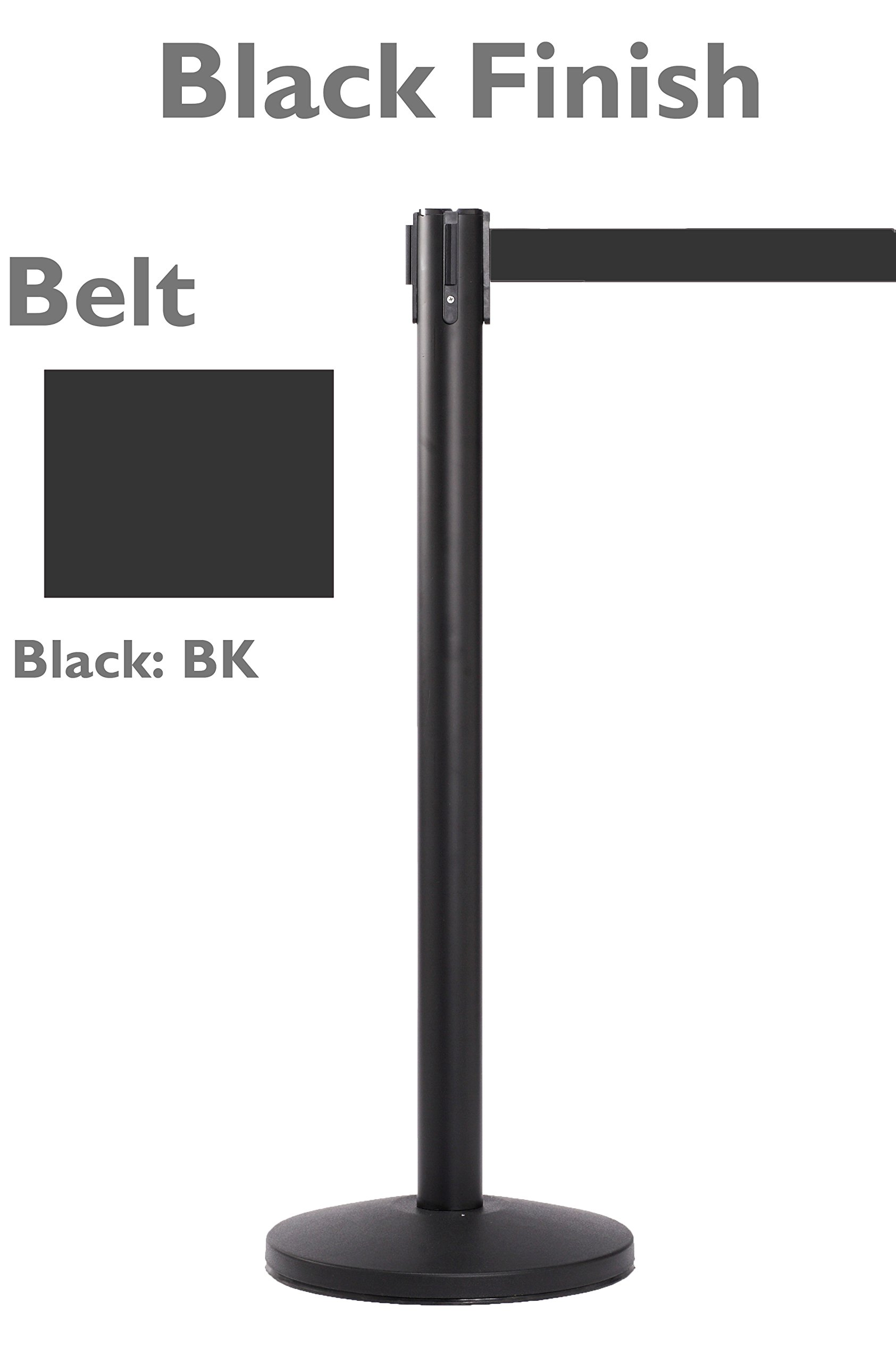 Black Retractable Crowd Control Stanchion with 8.5 Foot Black Belt | 2 Stanchions Per Pack | 40'' High x 14'' Diameter Base by Epic