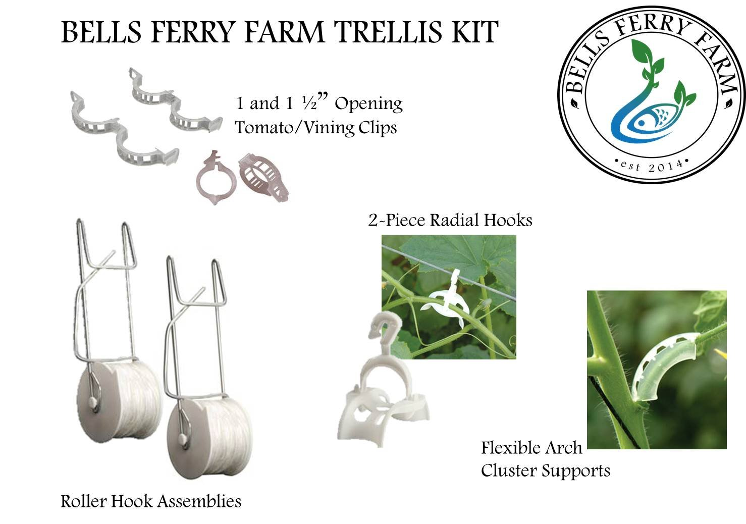 Bells Ferry Farm Trellis Kit: For Vining Plants - Rollerhook Assembly, Clips for Tomatoes, Cucumbers etc plus and more! - 6 Pack