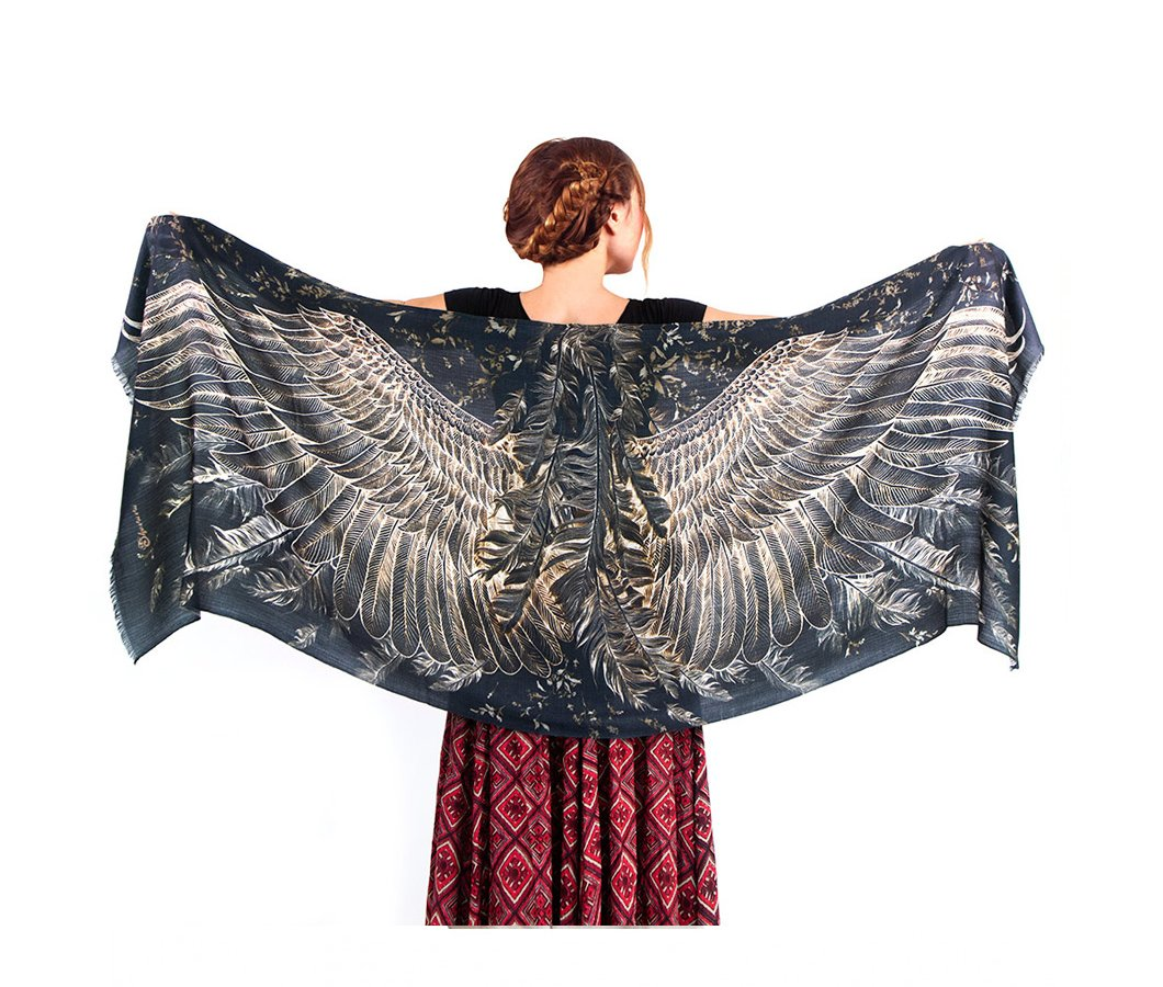 Black Pure Silk Bird Wings Evening Scarf. Romantic Anniversary Gift for Her