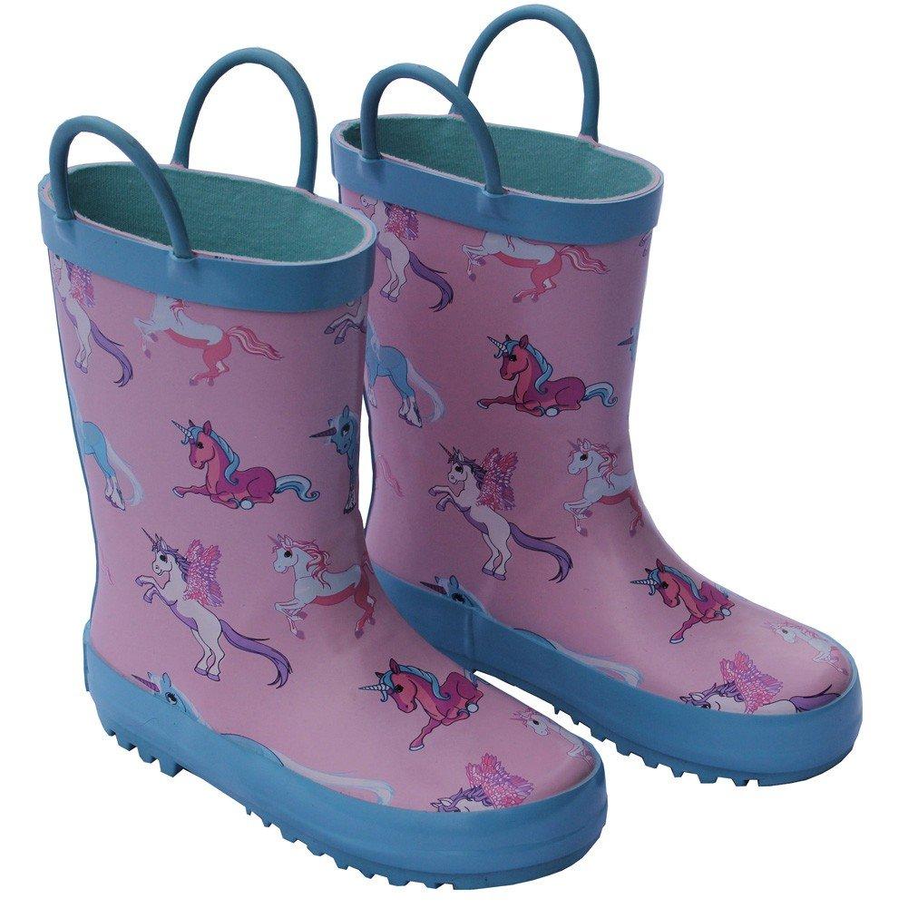 Foxfire Little Girls Pink Unicorn Print Pull On Handle Rain Boots 10 Toddler