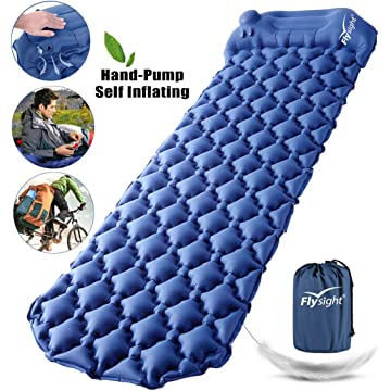 Flysight Camping Sleeping Pad for Backpacking Self Inflating Built-in Pump Ultralight Sleeping Pad for Camping with Pillow Durable Waterproof Air Camping Mats for Sleeping Hiking Travelling