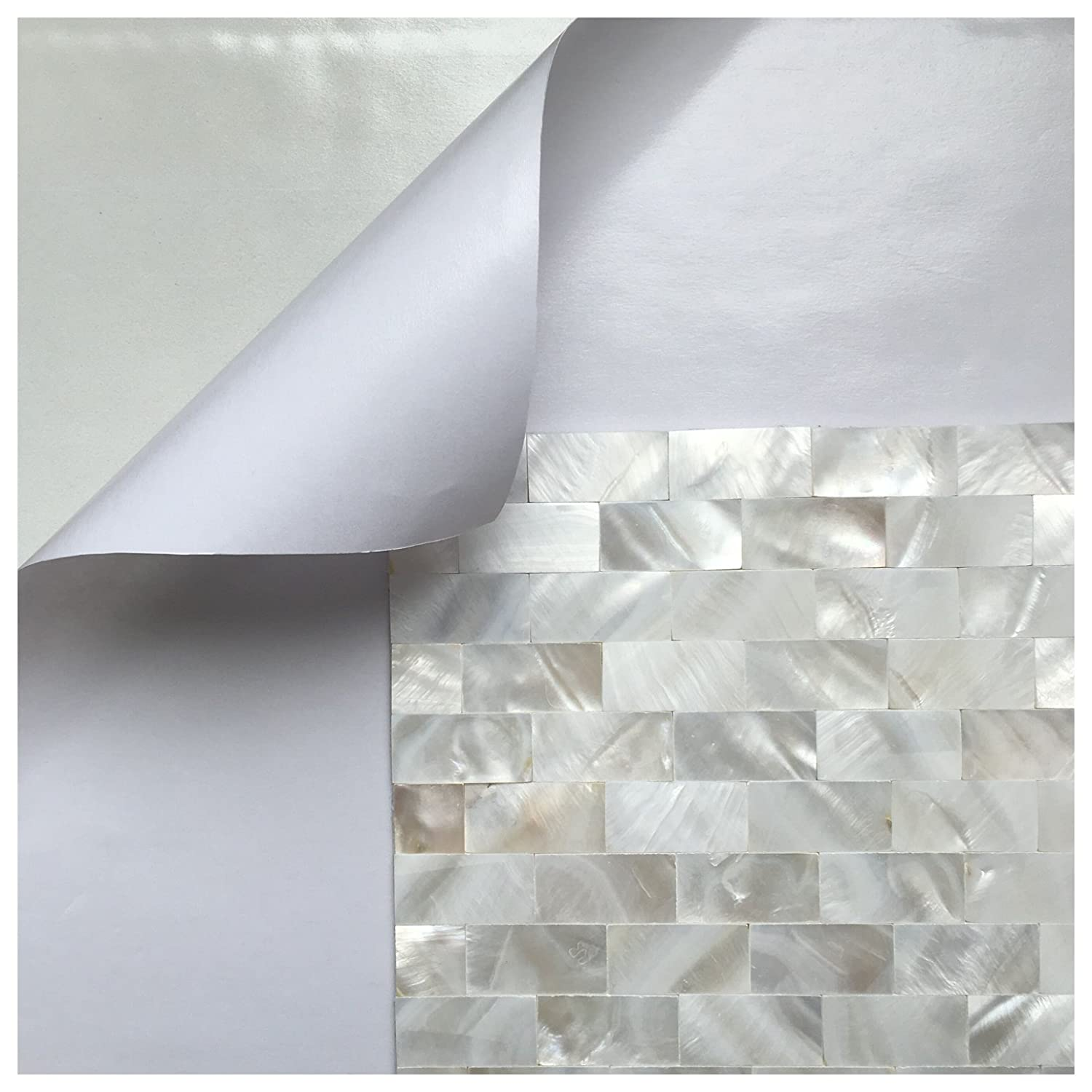 amazon com art3d 6 pack peel and stick mother of pearl shell tile