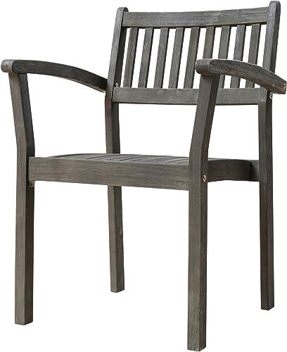 VIFAH Renaissance Outdoor Patio Hand-Scraped Wood Stacking Armchair Set of 2