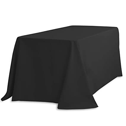 Amazon Com Linentablecloth  Inch Rectangular Polyester Tablecloth With Rounded Corners Black Home Kitchen